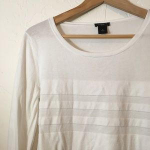 Ann Taylor white long sleeve top M scoop neck